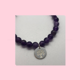 Amethyst Crystal Healing Bracelet With Sterling Silver Charm
