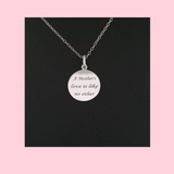Sterling Silver Double Sided MOM Charm Necklace