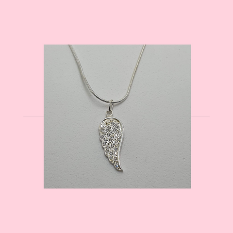 Sterling Silver Necklace With Crystal Angel Wing