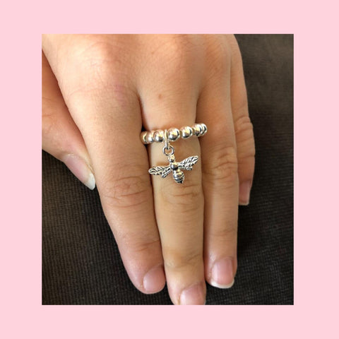 Sterling Silver Ball Ring With Bee Charm