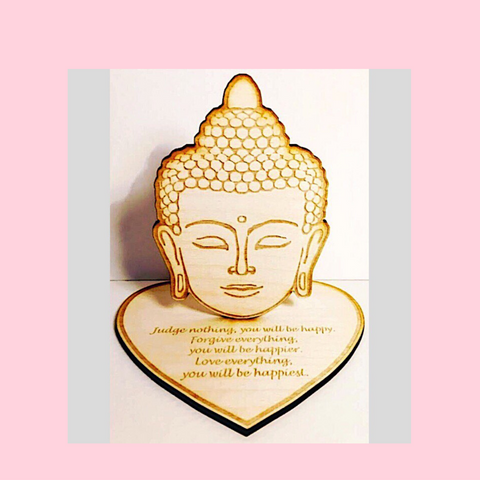 Buddha Head With Engraved Life Quote Wooden Figurine