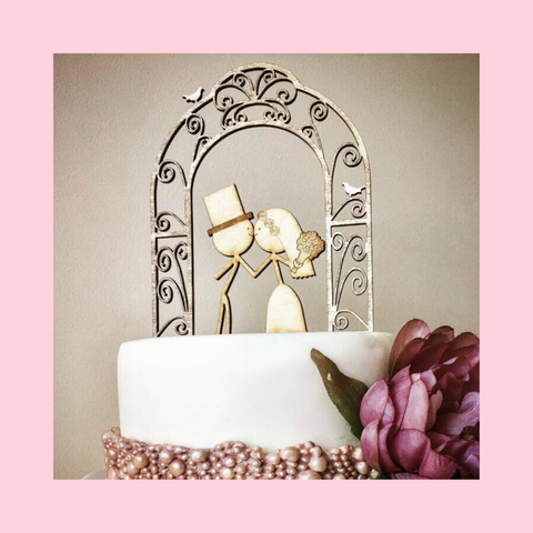 Wedding Cake Topper - Couple Under Arch