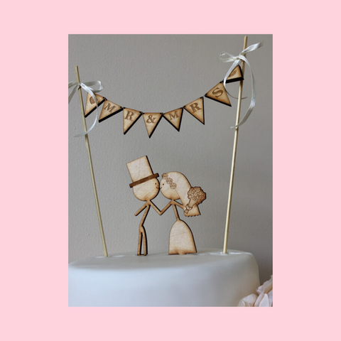 Wedding Cake Topper - Couple with bunting