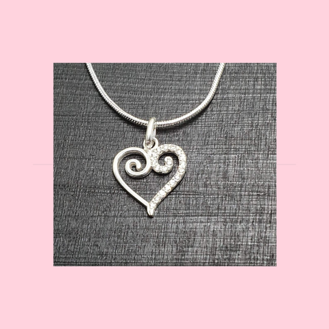 Crystal Scroll Heart Sterling Silver Necklace