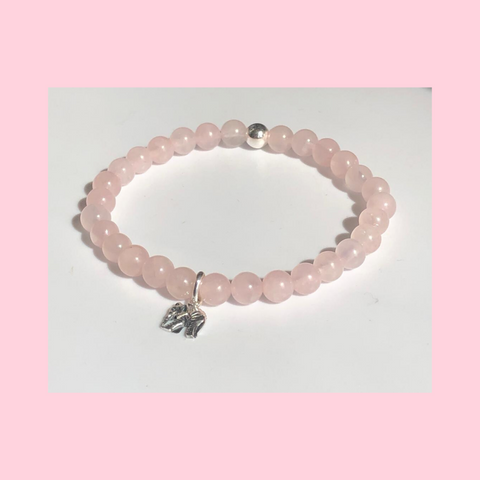 Rose Quartz Healing Crystal Bracelet With Choice Of Sterling Silver Charm