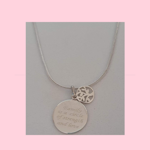 Family Is A circle Of Strenght And Trust Sterling Silver Necklace
