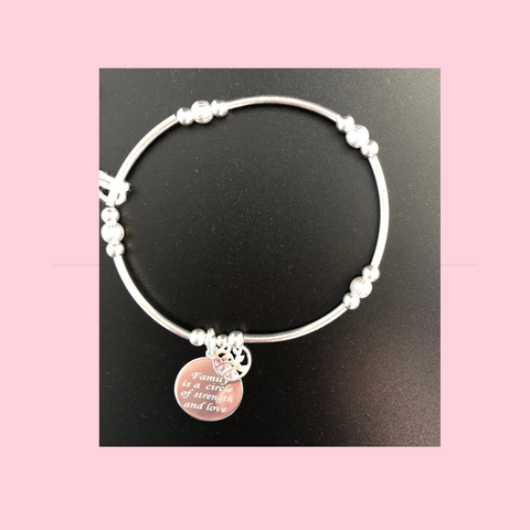 Family Is A Circle Of Strength And Love Sterling Silver Bracelet And Necklace