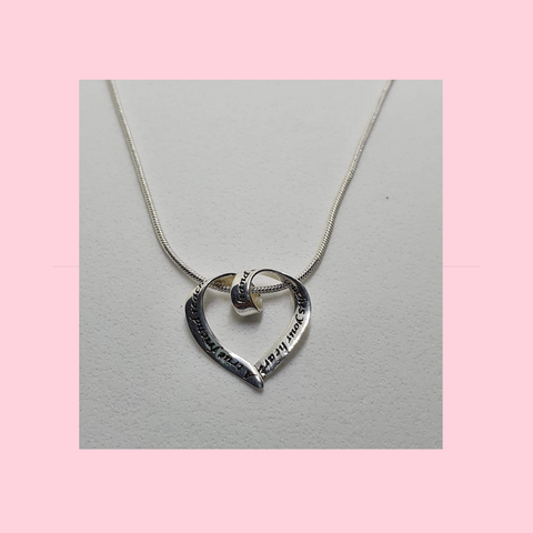 Sterling Silver Necklace With Silver Open Friendship Heart