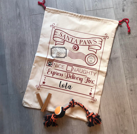 Personalised Santa Paws Christmas Sack