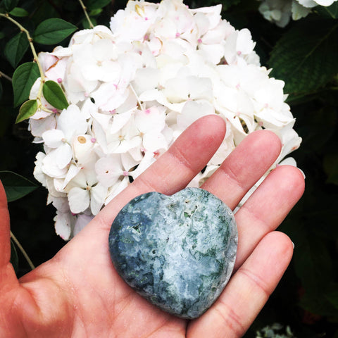 Moss Agate Heart Crystal