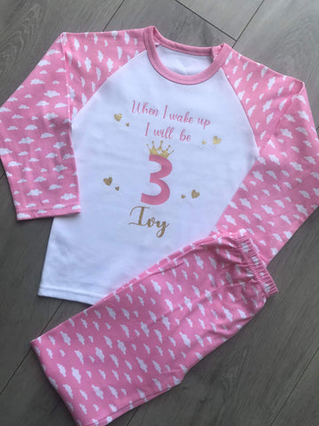 Kids Personalised Cloud Design Cotton Pyjamas