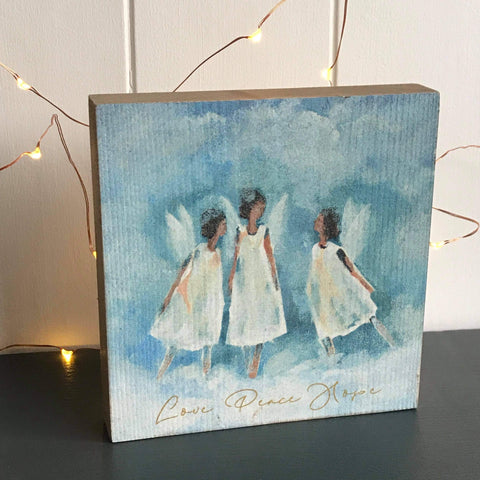 Three Angels Wooden Block Decoration