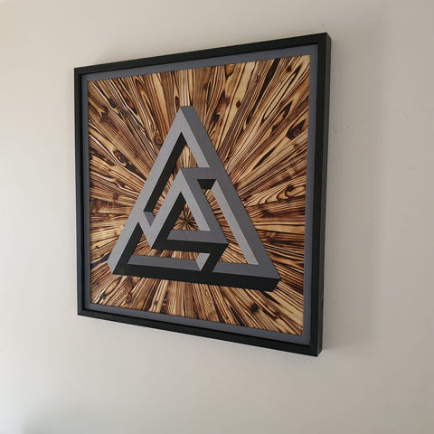 Handmade geometric 3D impossible shape  Hanging Wooden Art Piece