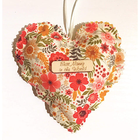 Personalised Mother's Day Hanging Mini Fabric Heart