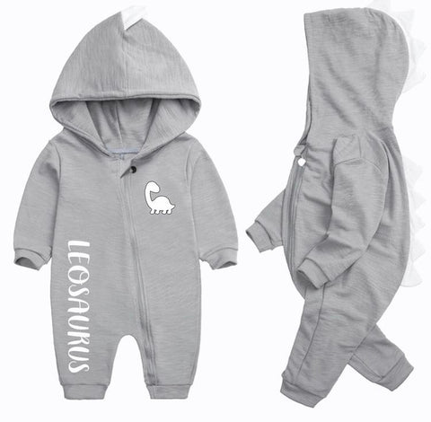 Baby Personalised Dinosaur Hooded Onesie