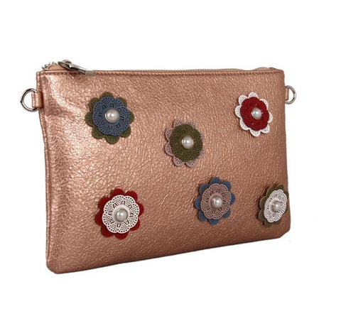 Red cuckoo London Flower Design Clutch Bag