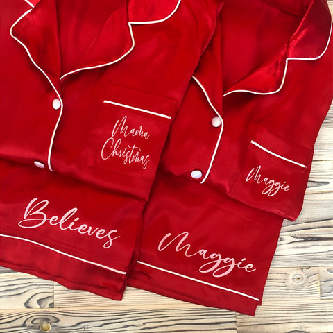 Ladies Personalised Christmas Satin Pyjamas