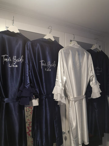 Personalised Wedding Robe With Chiffon Sleeves