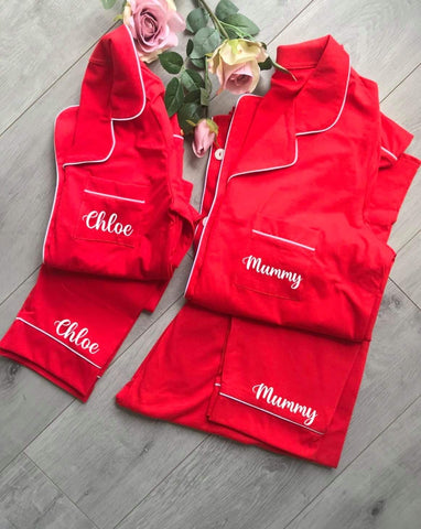 Personalised Christmas Family Cotton Pyjama Sets