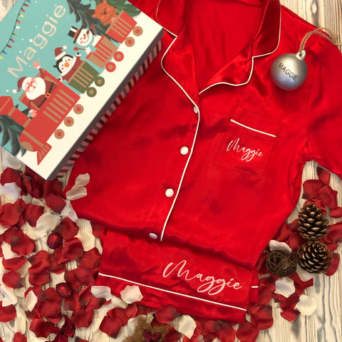 Personalised Kids Christmas Eve Satin Pyjama & Bauble Box