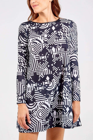 Kingsley Geometric Swing Dress