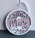 Mum Floral Wooden Decoration