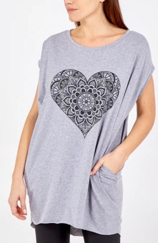 Oversized Heart Mandala Top