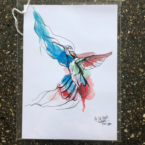 Hummingbird Watercolour Painting By Cole Joseph Art