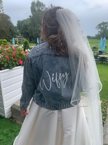 Personalised Denim Wedding Jacket With Swarovski Crystal and Pearly detail