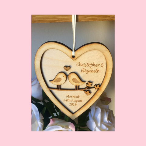 Lovebird Wedding Heart Hanger Gift