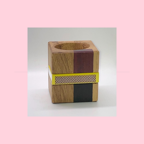Solid Oak Cube Tealight & Matchbox Holder