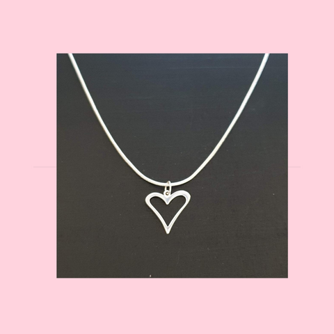 Open Heart Silver Charm on Sterling Silver Necklace