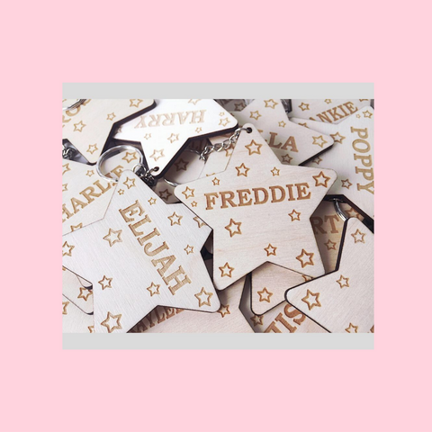 Personalised Name Star Keyrings