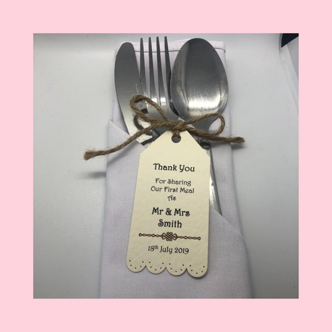 Personalised Thank You Cutlery Tags