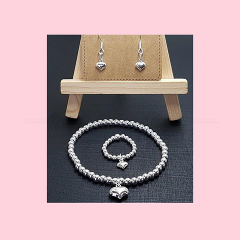 Cute Puffed Heart Bracelet Necklace Ring And Earrings - 925 Silver
