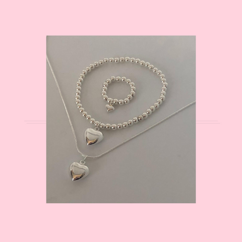 Cute Puffed Heart Jewellery Collection