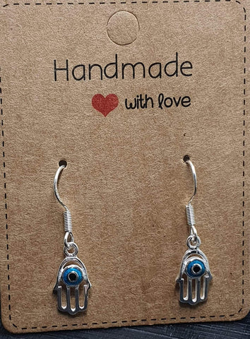Hamsa sterling silver earrings