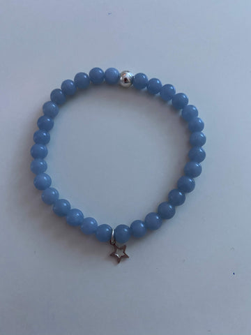 Angelite Bracelet with Sterling Silver Charm