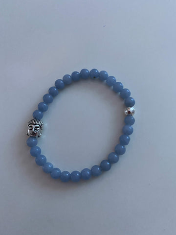Angelite Bracelet with Buddha Head Charm