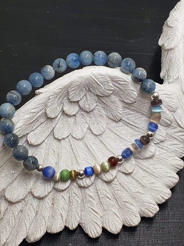 Sterling Silver with Recycle Glass & Dumortierite Bracelet
