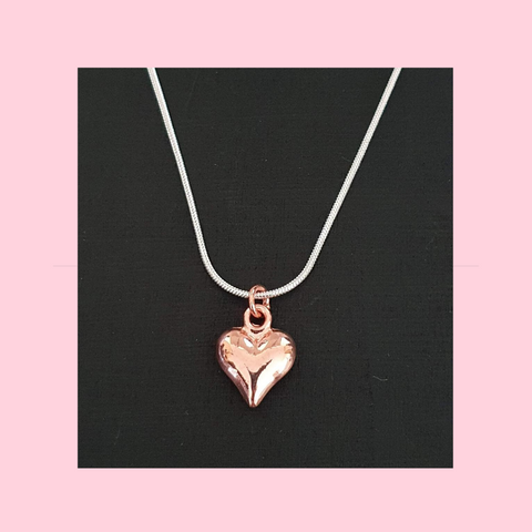 Sterling Silver Necklace With Rose Gold Puffy Heart