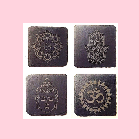 Wooden Or Slate Yoga Coasters