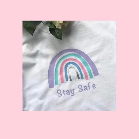 Stay Safe Rainbow T-Shirt Adults