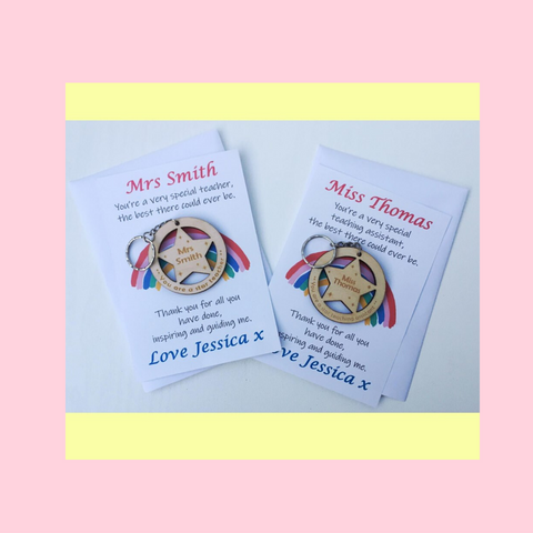 Teacher Or Teaching Assistant Gift Keyring With Personalised Card