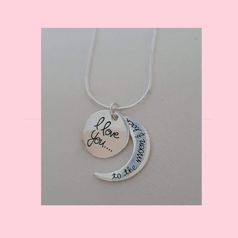 I Love You To The Moon And Back Chain and Charm