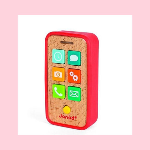 Janod Wooden telephone with protective silicone case