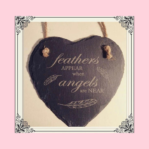Engraved Slate Hanging Heart Home Decoration
