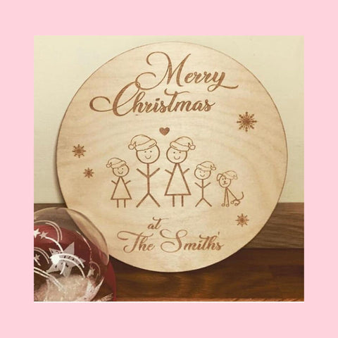Christmas Wooden Family Personalised Decoration