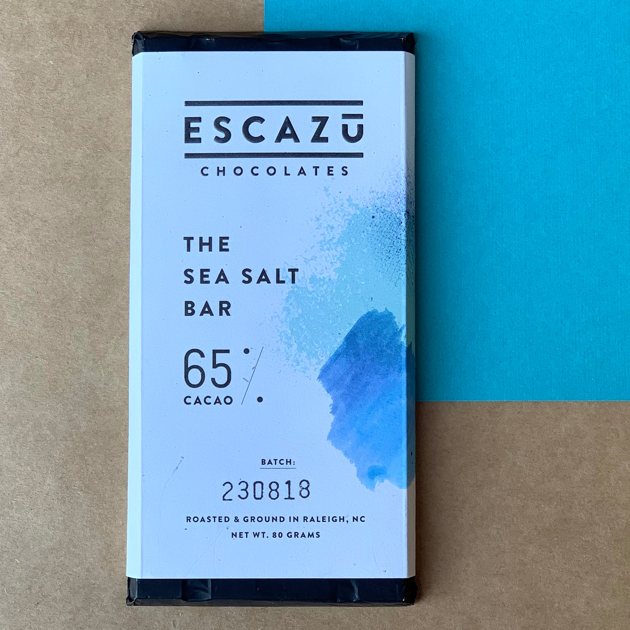 The Escazu Sea Salt Bar is 65% dark chocolate, and roasted Bean to Bar in Raleigh, NC.