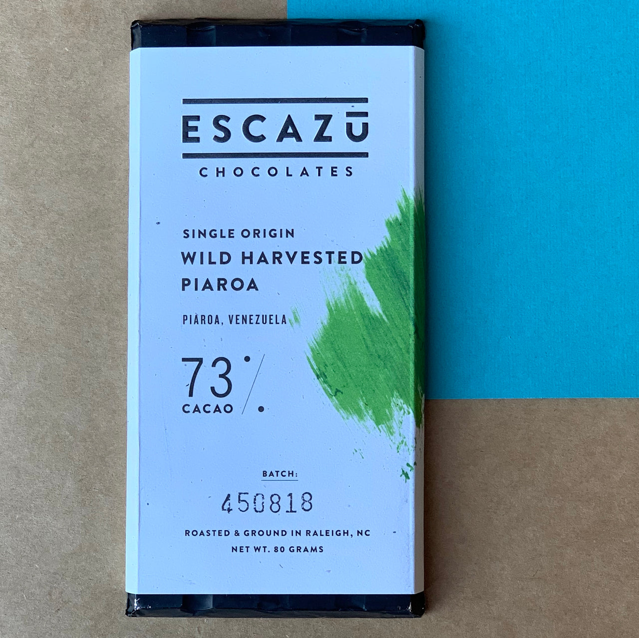 This Escazu 73% Dark Chocolate bar was roasted and then crafted in small batches in Raleigh, NC